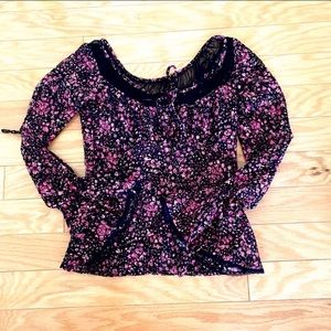 Express Bell Sleeve Pink Black Floral Lace Top XS